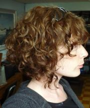 shoulder length curly angled bob
