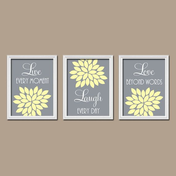 Yellow Gray Wall Art Bedroom Live Laugh Love Nursery Pictures Canvas Or Prints Flower Burst Set Of 3