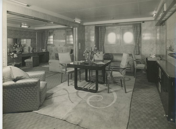 RMS Queen Mary  Suite Sitting Room  Ocean Liners