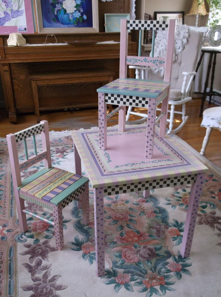 Hand painted childrens table and chairs Perfect for a