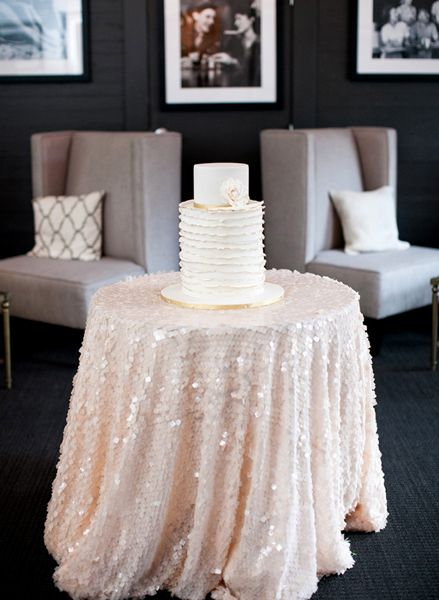 Romantic Pink Sequin Tablecloth For The Cake Table Photo