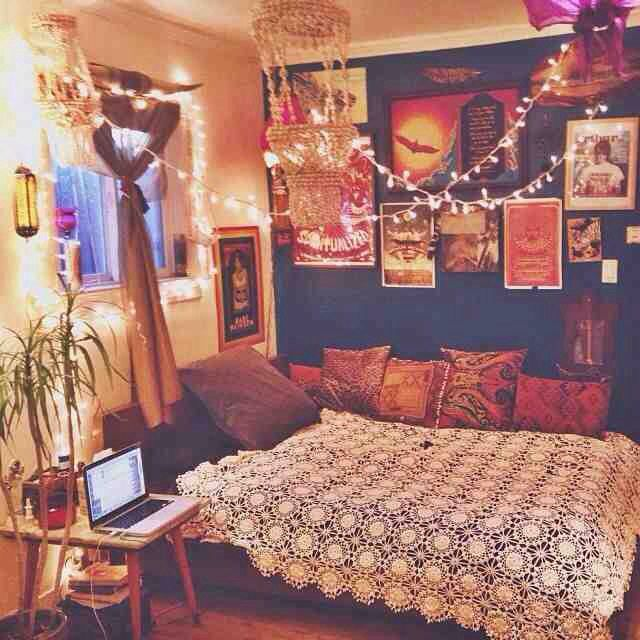 Bohohippie room decor  For Future Reference  Pinterest  Lighting Mattress and Love the