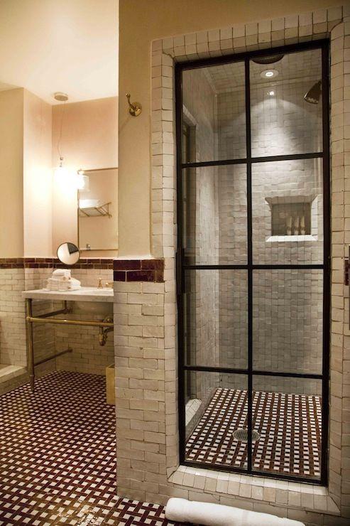 The Greenwich Hotel  bathrooms  steel glass paned shower door steel glass shower door stone