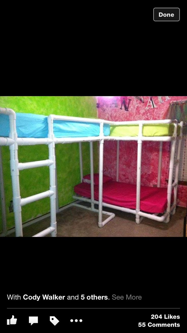 PVC bunk beds  Kids Room  Pinterest  Bunk bed and Pvc projects