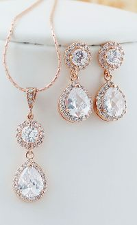 Rose Gold Cubic Zirconia Bridal Jewelry Set Wedding