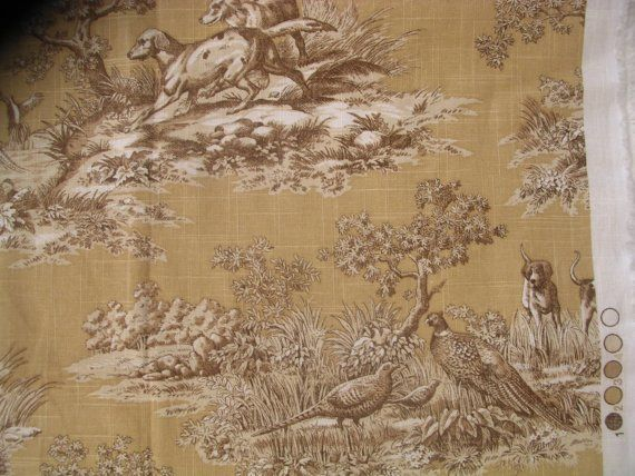 P Kaufmann Red Pointer Toile Designer Fabric 54 Inches Wide 6 Yards Toile Red And Pointers