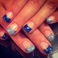 Royal blue nails! Chevron!