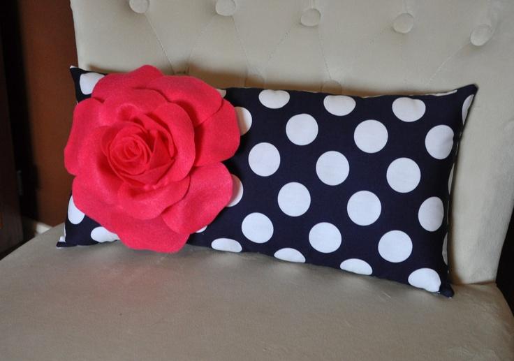 Decorative Hot Pink Rose On Navy White Polka Dot Lumbar