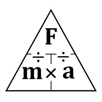Free! A formula triangle involving force, mass, and