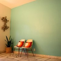 A seafoam green accent wall in my living room ...