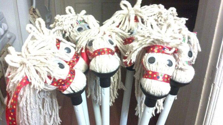 diy stick horses made from dollar store mops for the