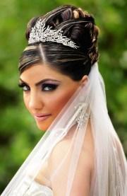 bride's ornate braided high updo