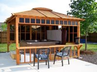 Hot tub gazebo keeps the blazing sun off and provides some ...