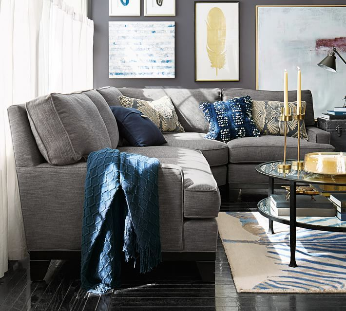 Seabury 3Piece Sectional with Wedge  Pottery Barn living  Pinterest  Grey sectional Grey