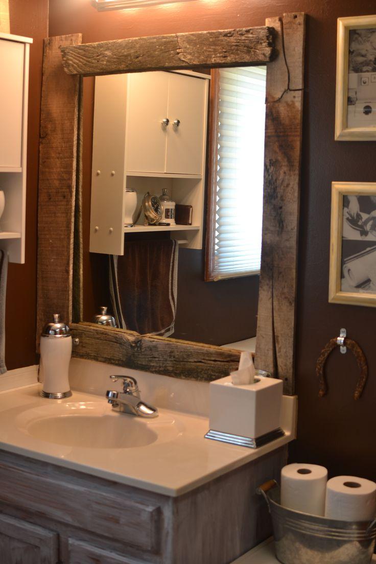 DIY barn wood framed mirror  Cool house stuff