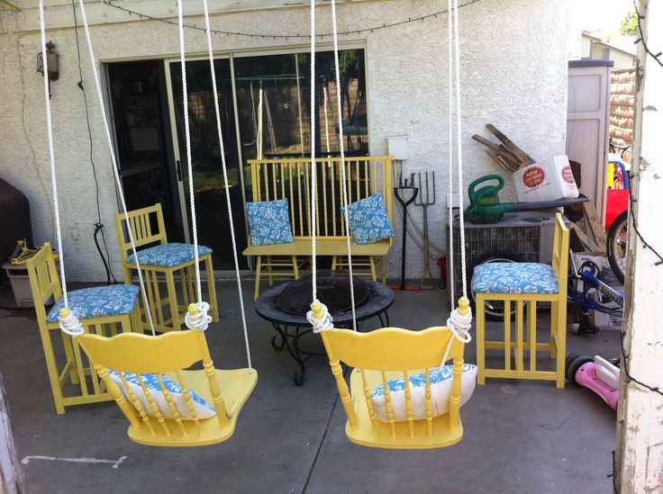 Made some swings out of old dining chairs and the bench