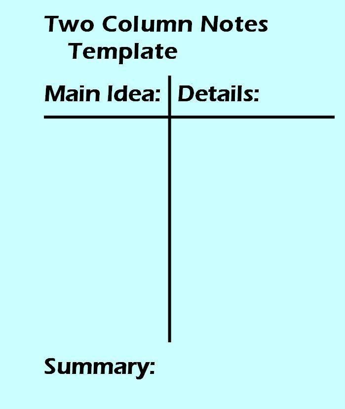 2 Column Notes Template Worksheet