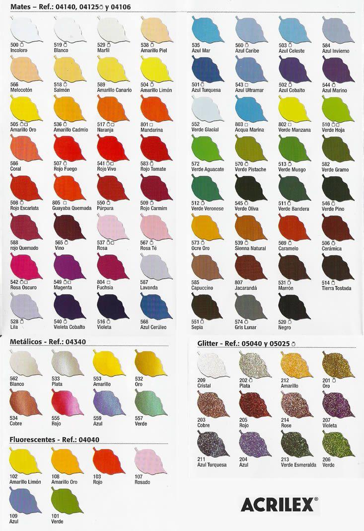 Carta de Colores de Pintura Para Tela Acrilex  arte en