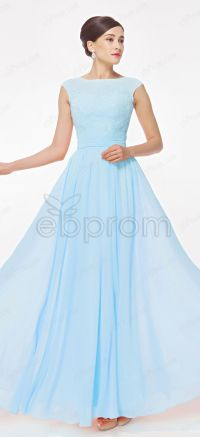 Light Blue Modest Prom Dress with Cap Sleeves | Sleeve ...