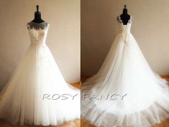 Fancy See-through Top Beaded Lace Applique Full Skirt