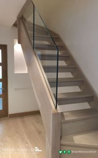 Abbott-Wade open tread, stained oak staircase with ...