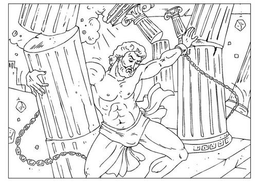 Samson crushing the pillars Bible coloring page http://www