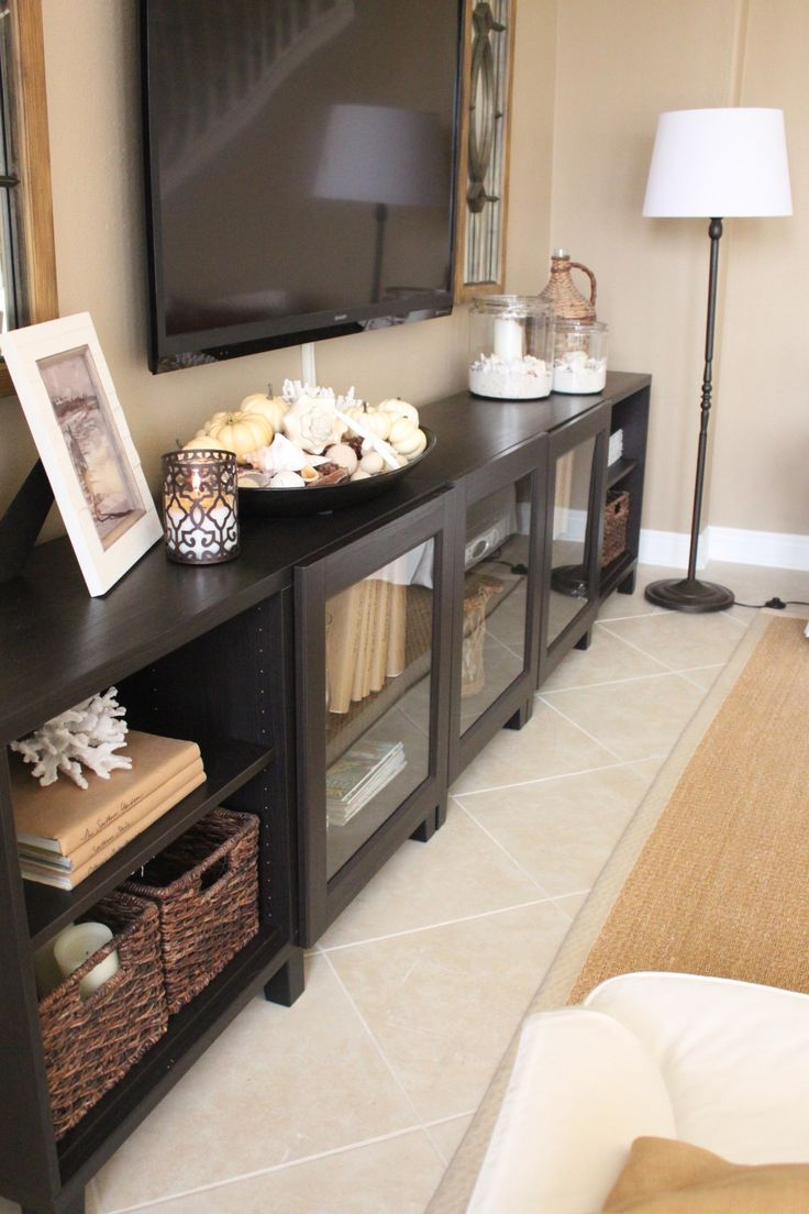25 best ideas about Tv Console Decorating on Pinterest  Tv stand decor Mounted tv decor and