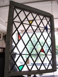 Unusual diamond style leaded glass window with stained ...