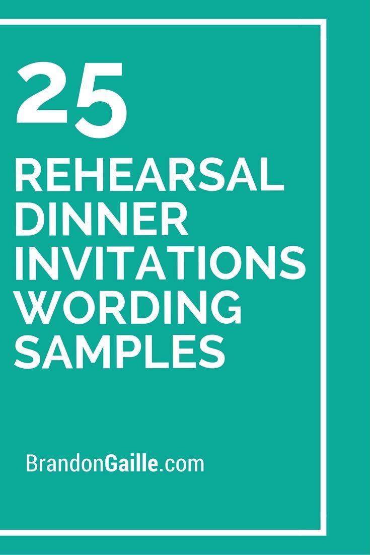 25 Rehearsal Dinner Invitations Wording Samples  Rehearsal dinner invitations Dinner