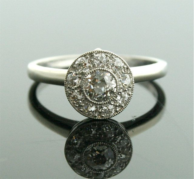 Reconstructed Antique Ring  White Gold And Diamond Ring