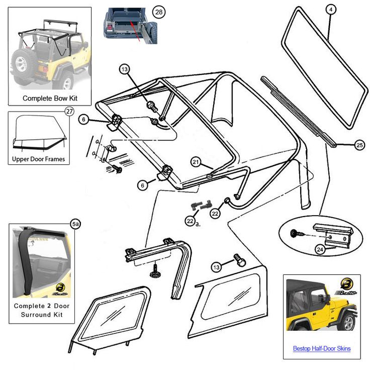 Jeep Soft Top Frame Parts Pictures to Pin on Pinterest