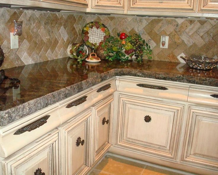 Love the distressed  dark wax look of these cabinets  DECORATE  Kitchen  Pinterest