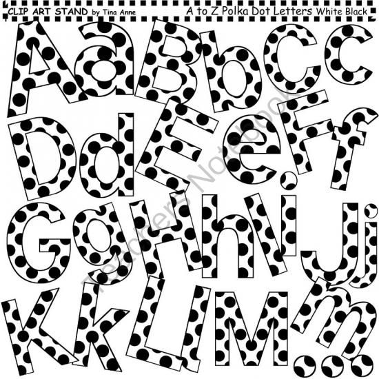 Clip Art Letters and Punctuation Polka Dots White and