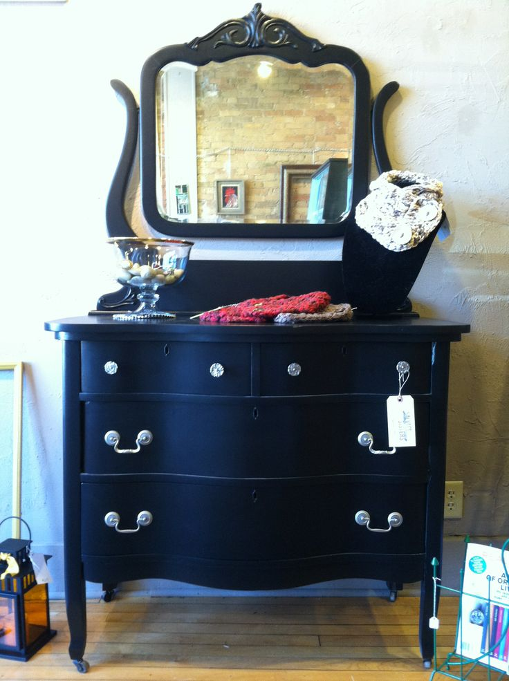 Black painted dresser and mirror  Salvage Sisters Store  Pinterest  Black painted dressers