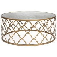 Metal coffee table with Moroccan tile cut out pattern ...