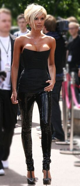 Victoria Beckham wearing sequin leggings  Victoria