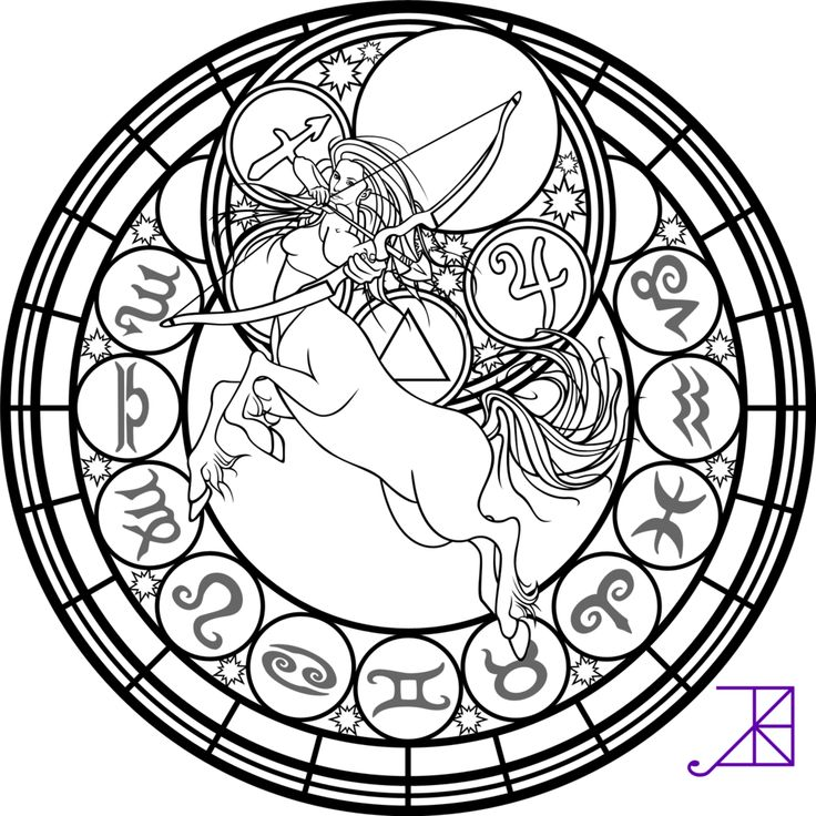 Zodiac Sagittarius Stained Glass Coloring Page by Akili