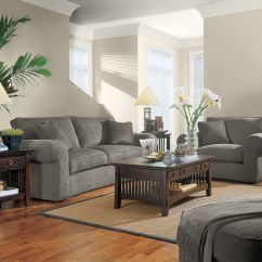 Living Room Decor With Brown Leather Couches White In Sherwin William's Accessible Beige (walls) And Alabaster ...