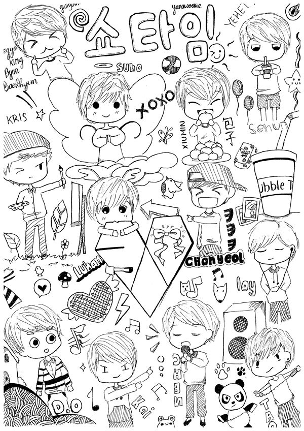 first time drawing exo chibi fanart :3try to draw this