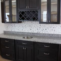 Stainless Steel Kitchen Cabinets Table And Bench Example Of Espresso With Grey Tile (don't ...