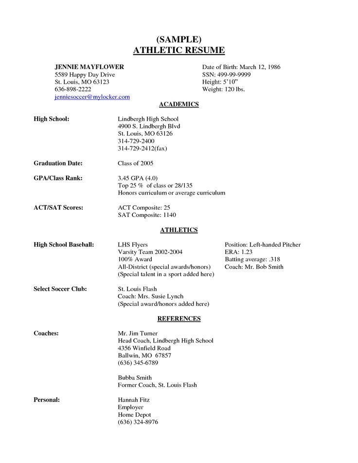 sample resume student athlete