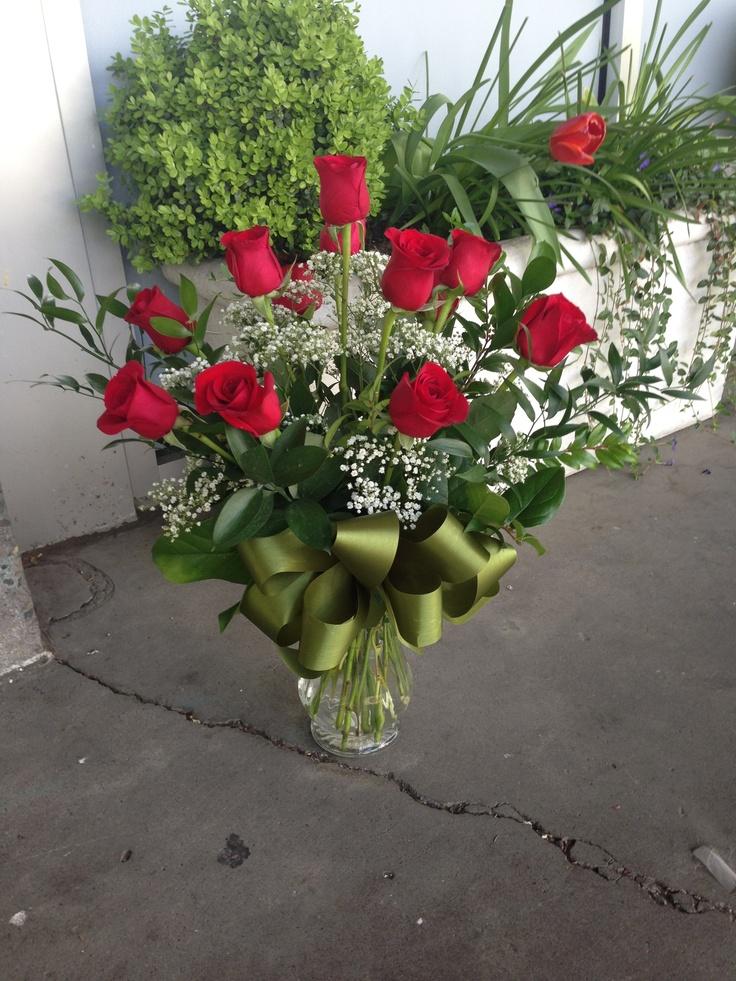 Flower school dozen roses arrangement  Floratopia  Pinterest  Flower Dozen roses and Rose