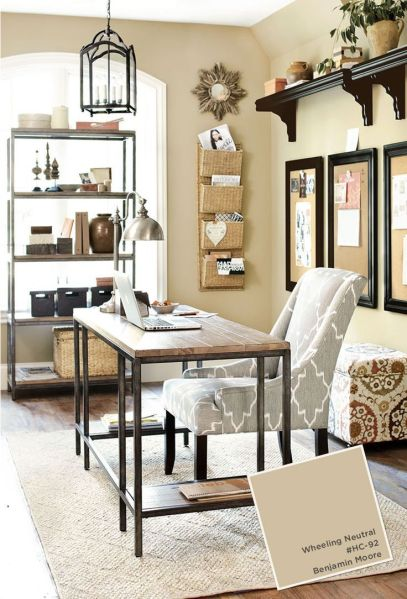 home office decorating ideas Home office with Ballard Designs furnishings. Benjamin
