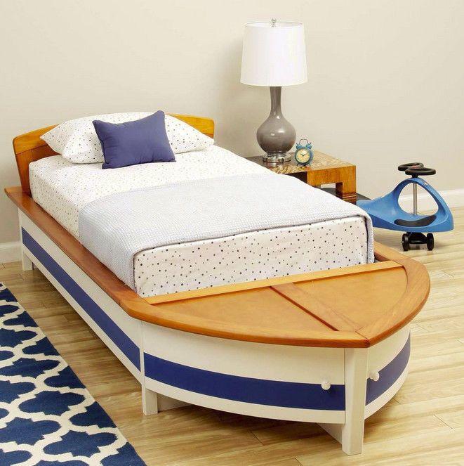 Kids Boys Girls Nautical Sail Boat Twin Bed Wood Storage