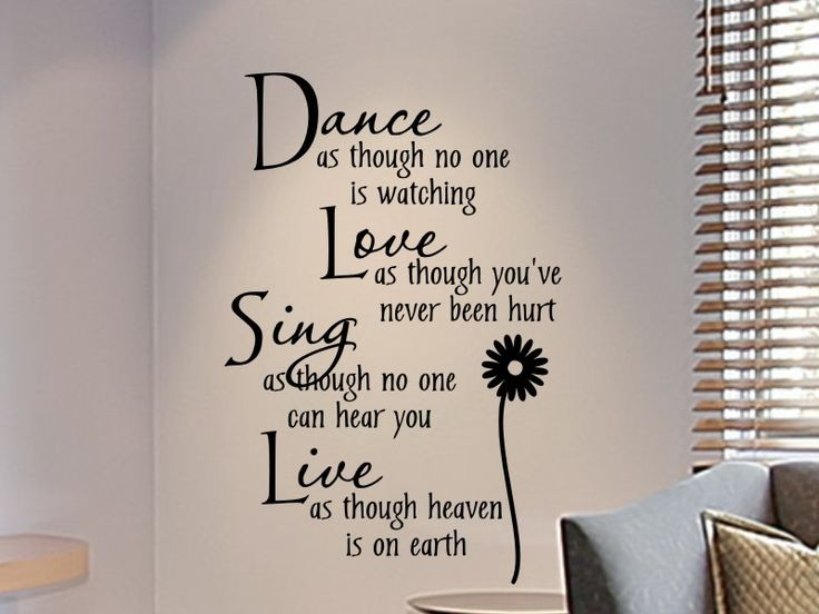 wall decals for teens  Girls Bedroom Wall Decal Dance As Though No One Is Watching  Quotes