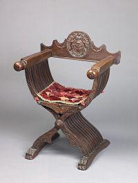 Savonarola Chair (a) and Cushion (b) Italy 15th century