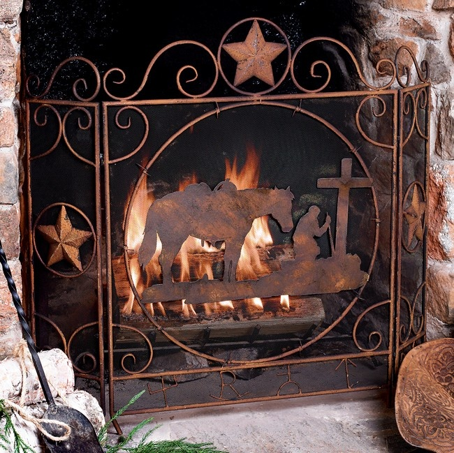 Praying Cowboy Fireplace Screen  Western things  Pinterest  Fireplace screens and Western decor
