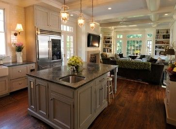 Kitchen is 18 x 20 Island is 45 x 9 Family Room is 18 x 24 Ceilings are just under 10