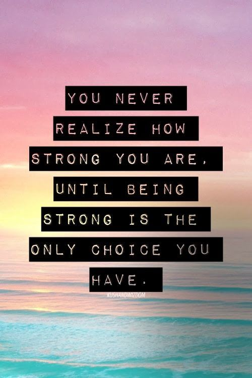 Quote: You Never Realize How Strong You Are:
