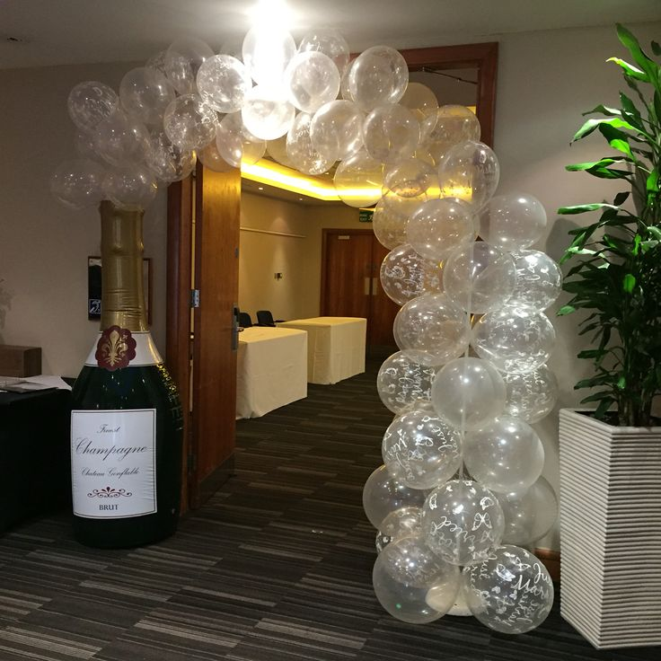 Champagne bottle with balloon bubbles wwwstylisheventsmk